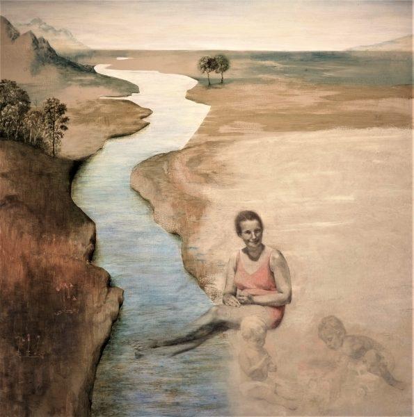 Minnenas flod. 125x125 cm. Tempera-blyerts.