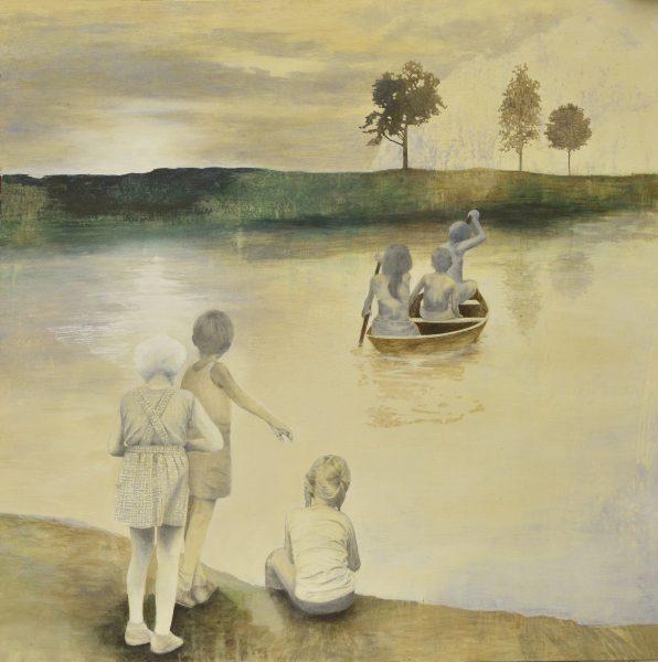 Barnen och framtiden Tempera/blyerts på duk 125x125 cm Inköpt av Borås konstmuseum 2015