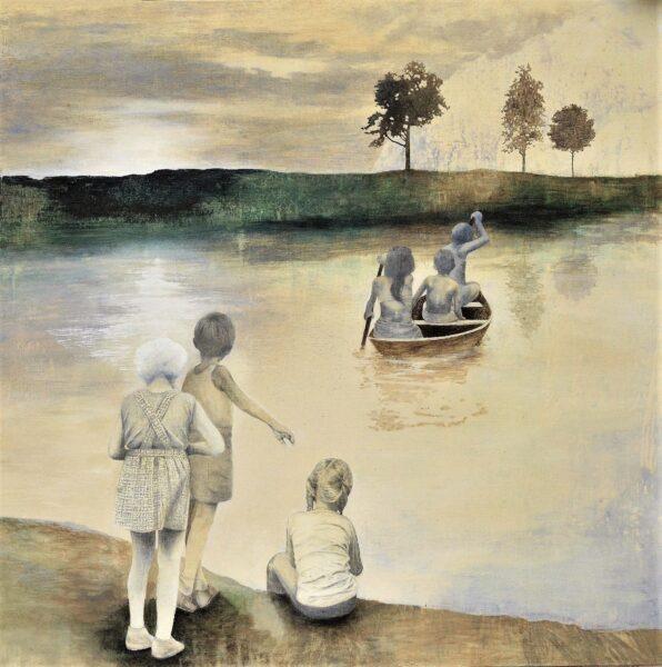 barnen och framtiden, 125 x 125 cm, tempera blyerts på duk. Borås konstmuseum. - kopia (2)
