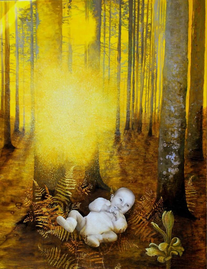 Eva Wilms - bildkonstnär - Barnet 9- tempera och blyerts - 130x100 cm