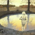 Eva Wilms - bildkonstnär - Barnet 2 - tempera och blyerts - 140x110 cm - Liljevalchs Vårsalong