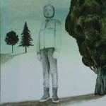 Flickan och framtiden. Tempera/blyerts på duk. 130x90cm