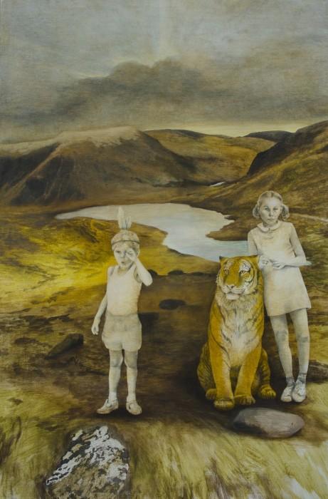 Barn och tiger Tempera/blyerts på duk 80x120 cm