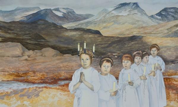 Barnen och framtiden 3 Tempera/blyerts på duk 125x95 cm Inköpt av Hallands konstmuseum 2016